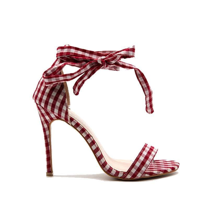 Checkered Plaid Cross-Tied Heels Ladies Ankle Strap High Sandals - Red / 5.5 - Sandals