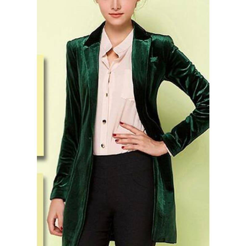 Chic European Style Womens Long Velvet Blazer Jackets - deep green / XS - Jacket