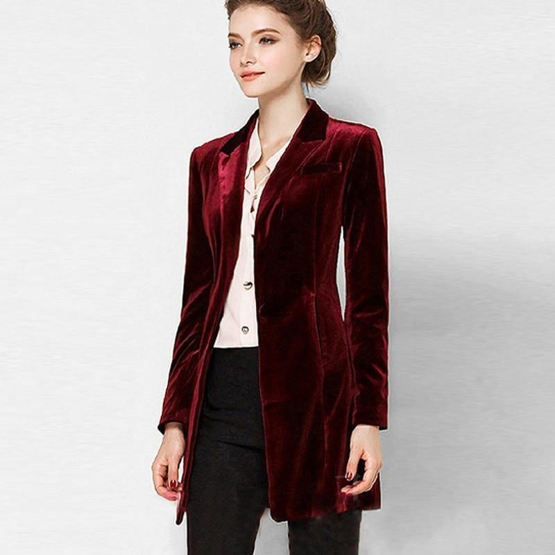 Chic European Style Womens Long Velvet Blazer Jackets - Jacket