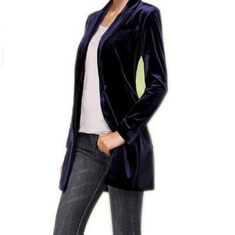 Chic European Style Womens Long Velvet Blazer Jackets - navy / XS - Jacket