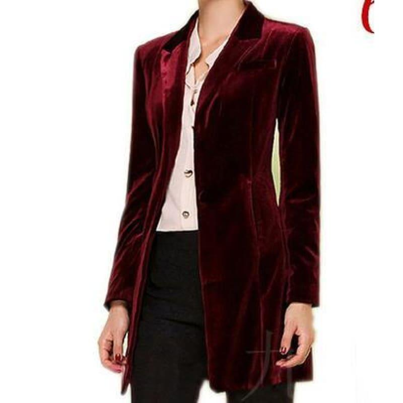 Chic European Style Womens Long Velvet Blazer Jackets - wine red / XS - Jacket