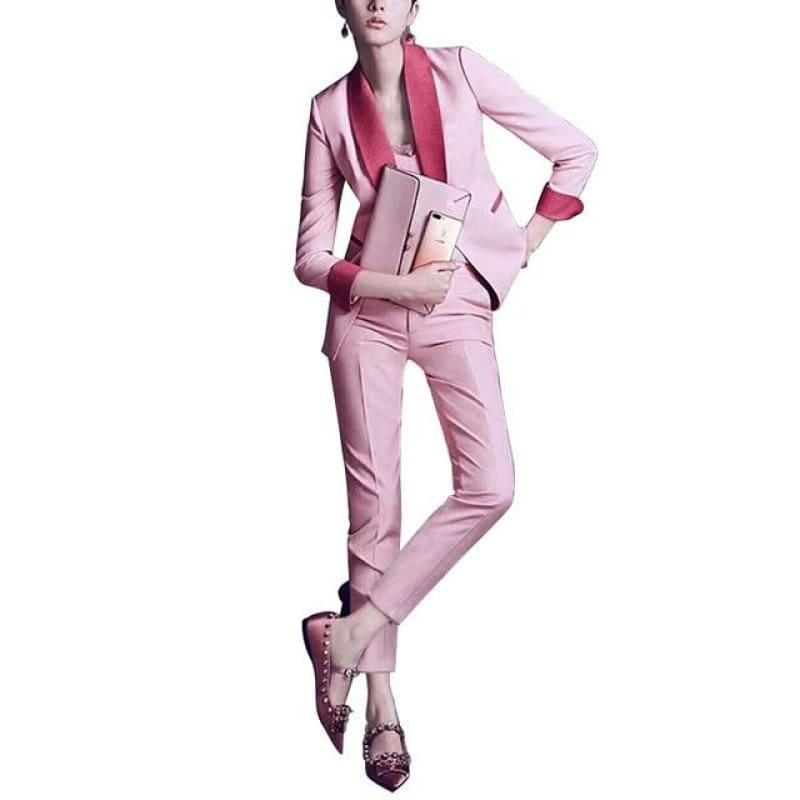 Chic Pink Pants Suit Blazers Jackets Two Pieces Set - Pink / S - Set