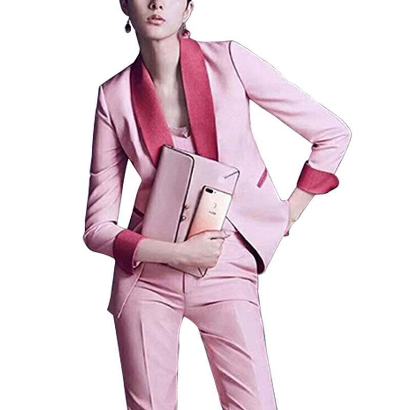 Chic Pink Pants Suit Blazers Jackets Two Pieces Set - Set