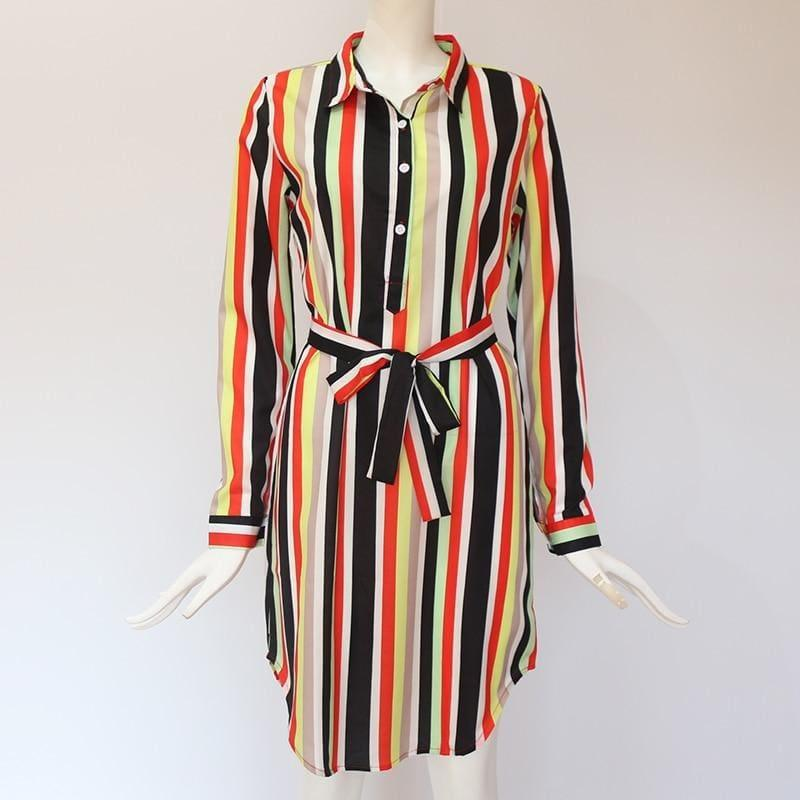 Chiffon Boho Beach Casual Striped Print A-line Shirt Mini Dress - Mini dress