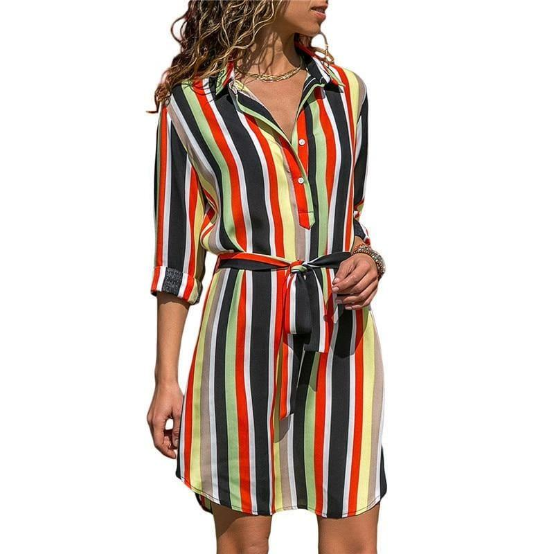 Chiffon Boho Beach Casual Striped Print A-line Shirt Mini Dress - TeresaCollections