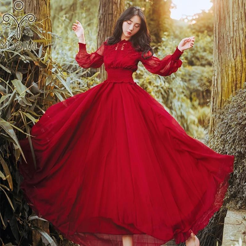 Chiffon Red Vintage Empire Waist Long Sleeve Chiffon Maxi Dress - TeresaCollections
