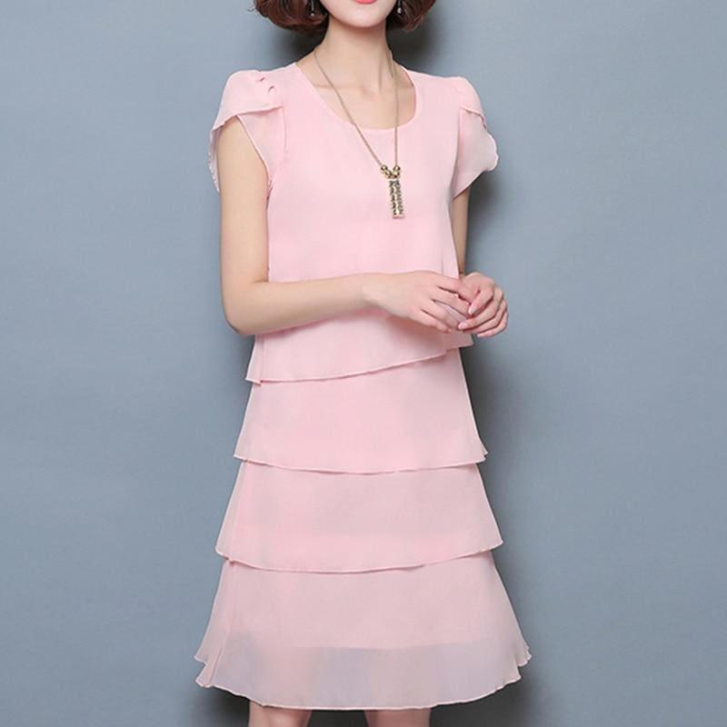 Chiffon Ruffles Elegant Ladies Party Cocktail Mini Dress - TeresaCollections