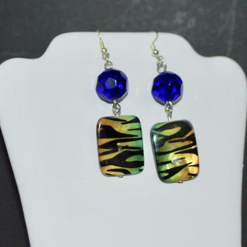 Chunky Blue Animal Print Dangle Earrings - TeresaCollections