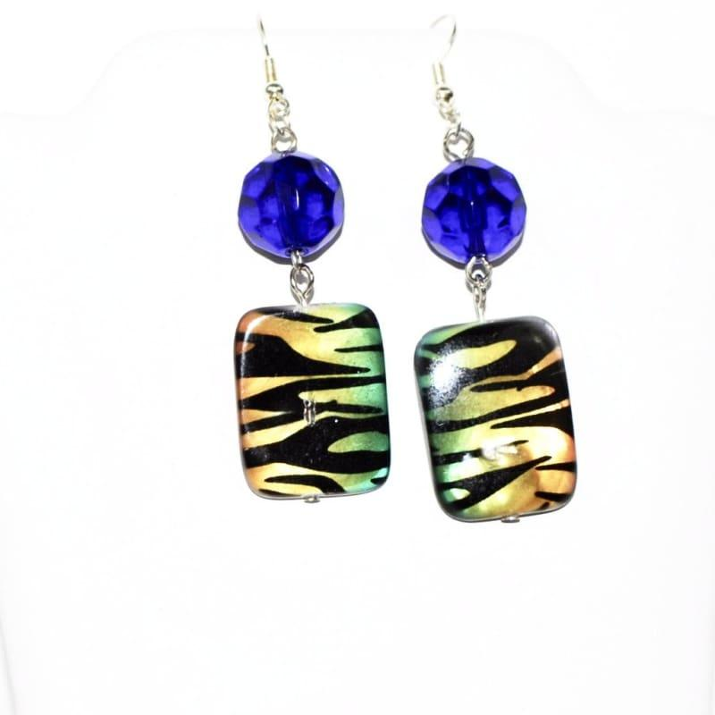 Chunky Blue Animal Print Dangle Earrings - Handmade