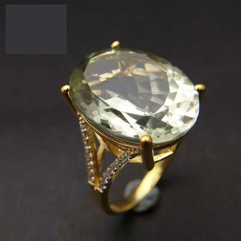 Chunky Natural 13ct Green Amethyst Gemstone Ring - 7 / Green amethyst - rings