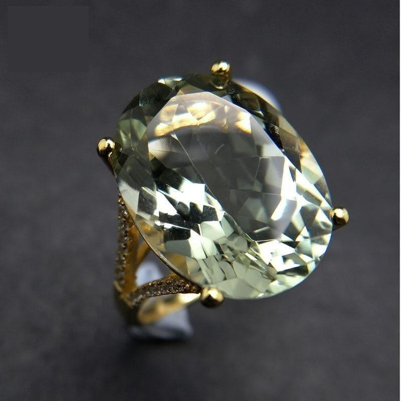 Chunky Natural 13ct Green Amethyst Gemstone Ring - rings