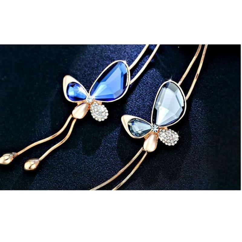 Classic Crystal Butterfly Tassel Long Necklace - necklace