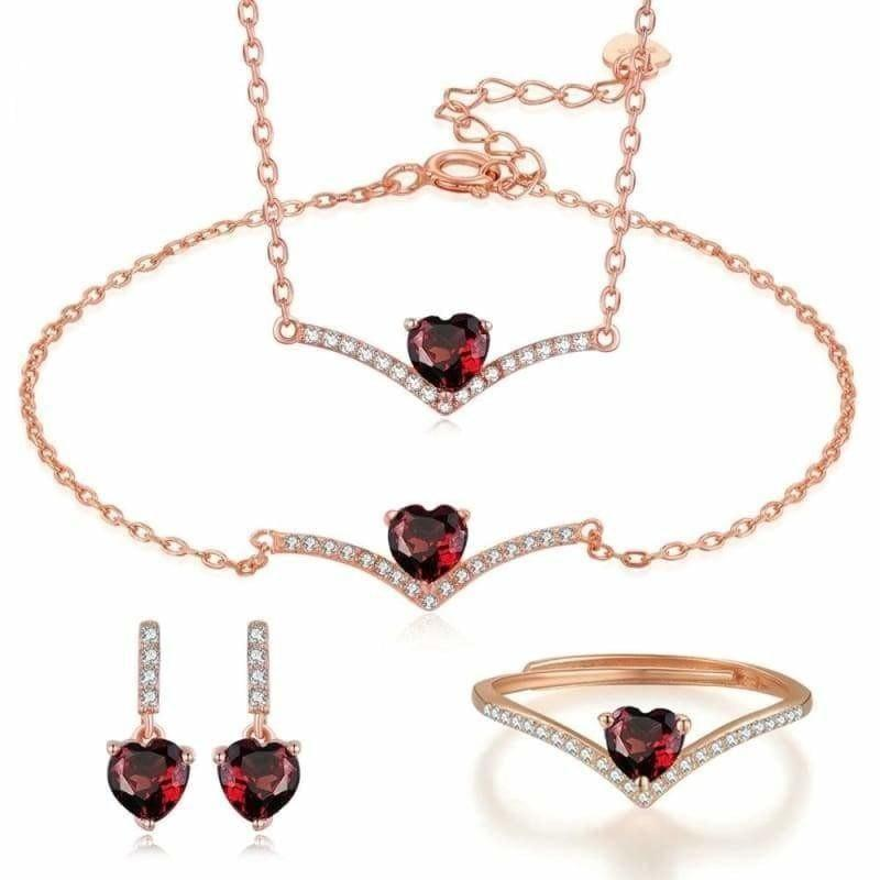 Classic Heart Shaped Red Garnet 925 Sterling SilverFine Jewelry Set - Jewelry set