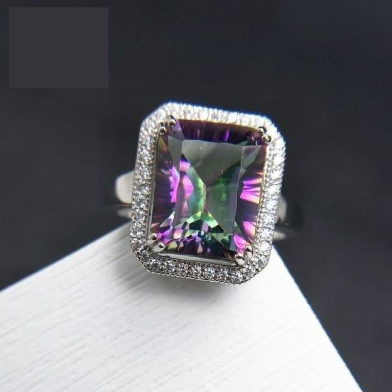 Classic Rainbow Fire Mystic Coated Quartz 9*11 Simple and Elegant Gemstone Ring - multi color / 6 - Rings