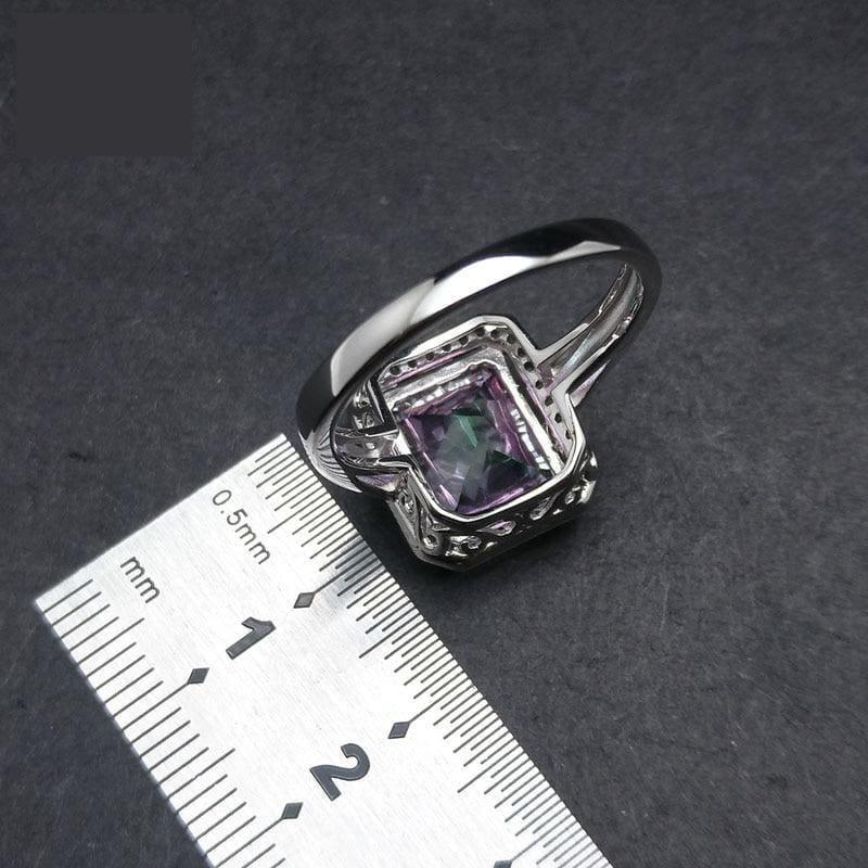 Classic Rainbow Fire Mystic Coated Quartz 9*11 Simple and Elegant Gemstone Ring - Rings