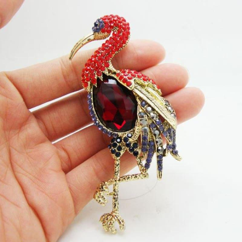 Classic Red Flamingos Bird Gothic Style Brooch Pendant Rhinestone Crystal - Default title - brooch
