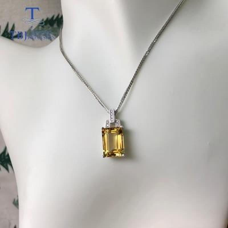 Classic Square Citrine Gemstone 10*14mm 925 Silver Necklace - citrine / 45cm - Necklace