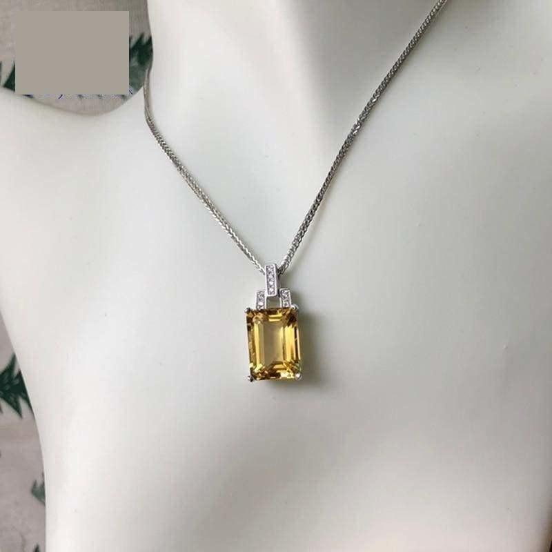 Classic Square Citrine Gemstone 10*14mm 925 Silver Necklace - Necklace