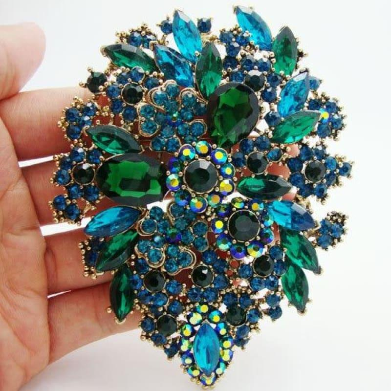 Classic Style Green Crystal Rhinestone Dual Droplets Flower Art Nouveau brooch pins Gold Tone pendants - Brooch