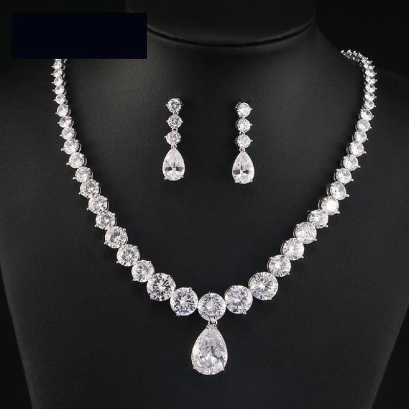 Clear Waterdrop & Round Cubic Zirconia Bridal Wedding Jewelry Set - 2 pcs set - jewelry set
