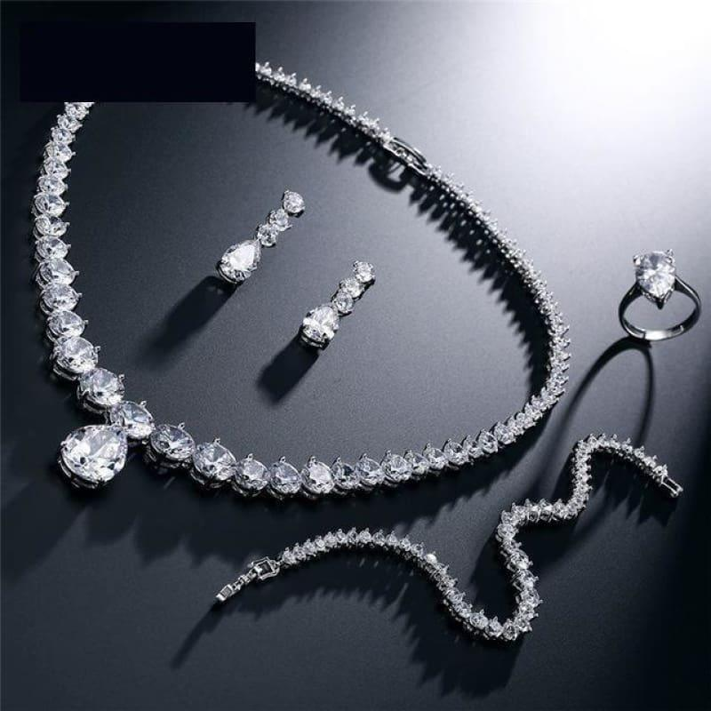 Clear Waterdrop & Round Cubic Zirconia Bridal Wedding Jewelry Set - 4 pcs set - jewelry set