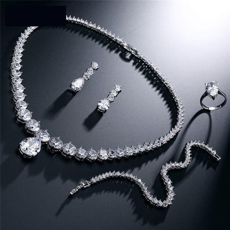 Clear Waterdrop & Round Cubic Zirconia Bridal Wedding Jewelry Set - jewelry set