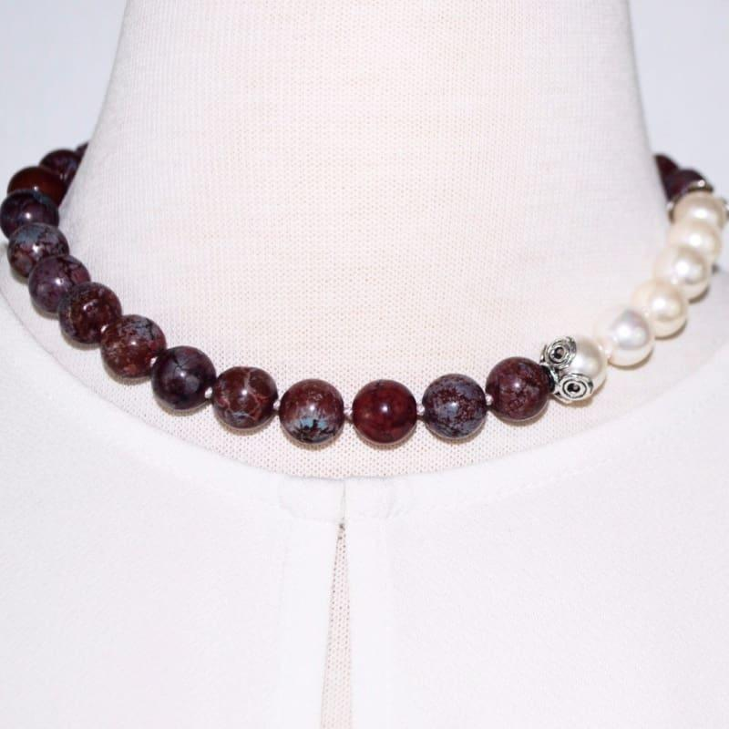 Coffee Brown Elegant Color Block Beaded Womens Necklace - Handmade