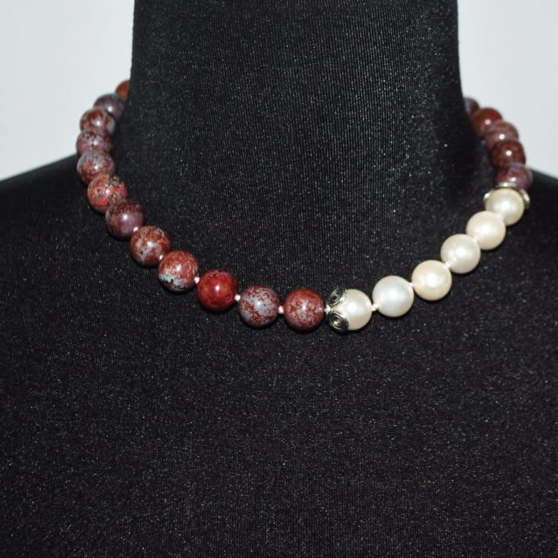 Coffee Brown Elegant Color Block Beaded Women's Necklace - TeresaCollections