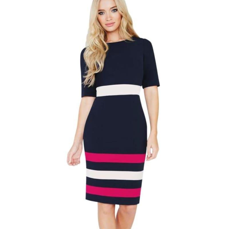 Color Contrast Fitted Casual Short Sleeve Chic Work Pencil Dress - dark blue / S - mid length