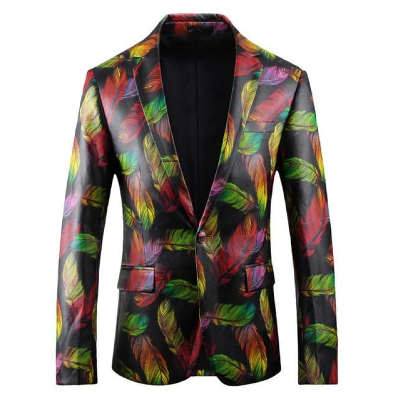 Colorful Printed Blazer Luxury Casual Suit Jacket - as picture / XXXL - Mens Jackets