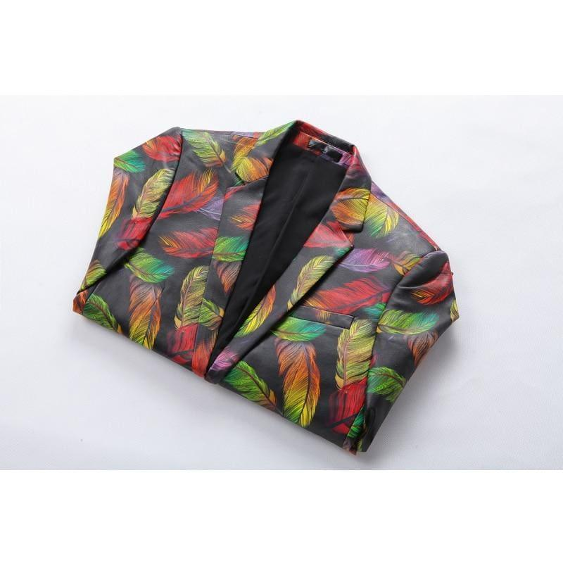 Colorful Printed Blazer Luxury Casual Suit Jacket - Mens Jackets