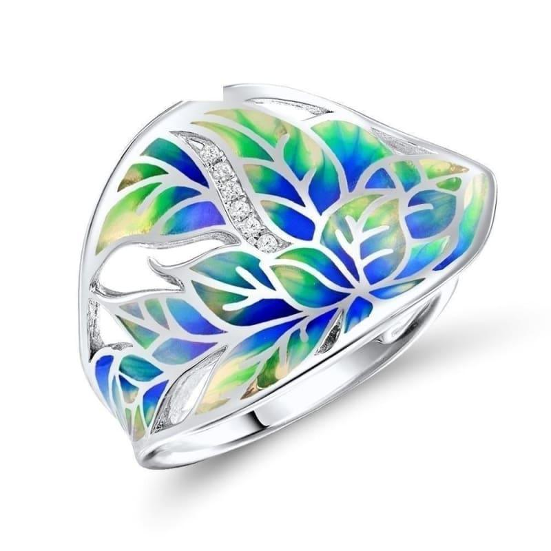 Colorful Transparency Enamel Leaf Ring White Cubic Zirconia Stone Ring - 6 - Rings