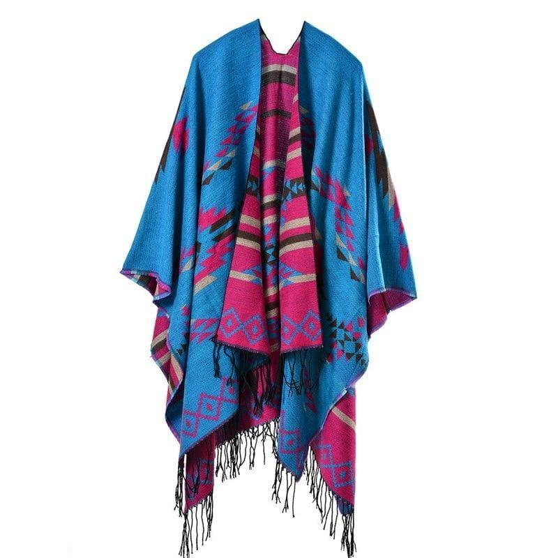 Colorful Winter Ponchos Shawl Cashmere Scarf - TeresaCollections