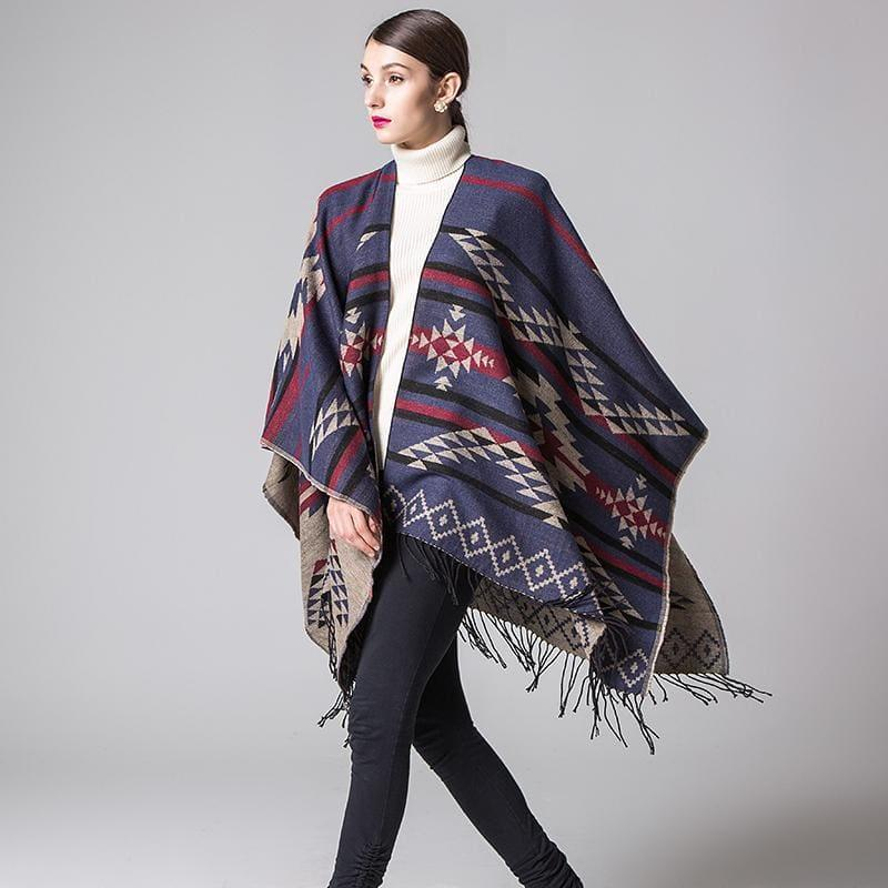Colorful Winter Ponchos Shawl Cashmere Scarf - scarf