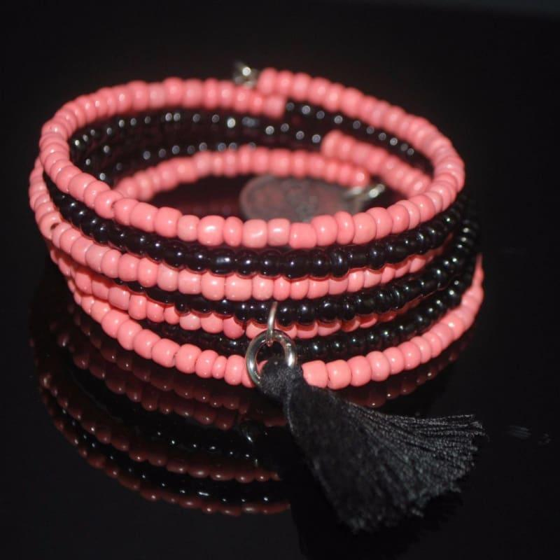 Coral and Black Seed Beads Memory Wire Bracelets - TeresaCollections