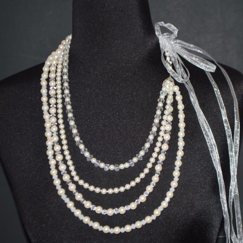 Cream Glass Pearls Crystal Elegant Multi Strands Necklace - Handmade