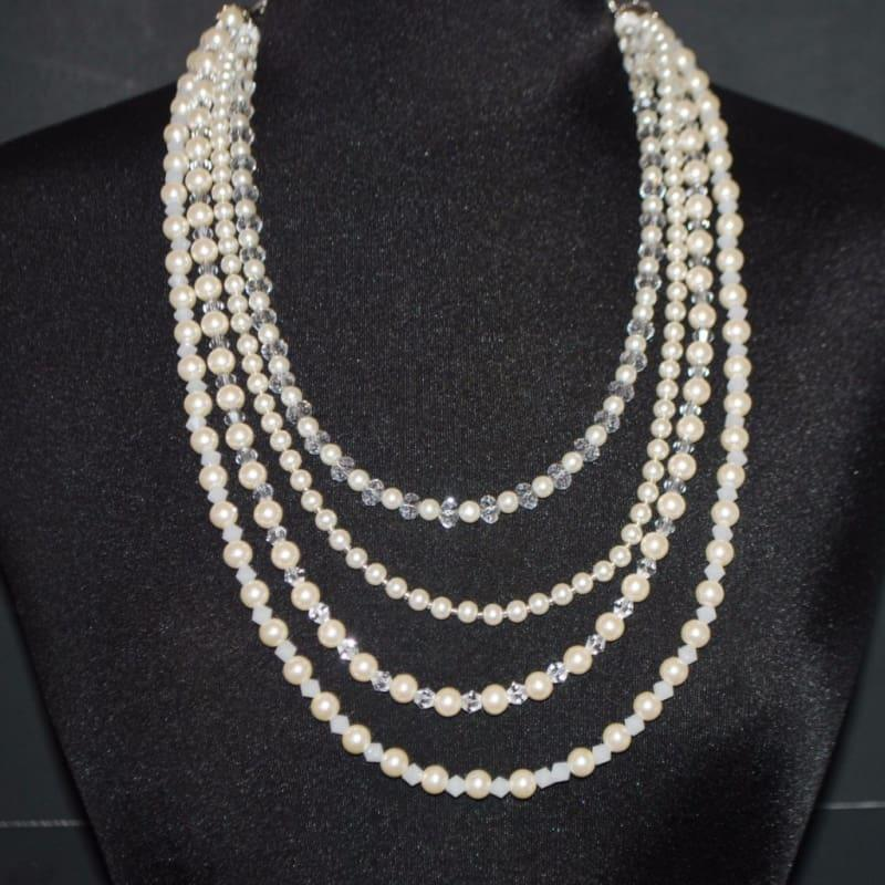 Cream Glass Pearls Crystal Elegant Multi Strands Necklace - TeresaCollections