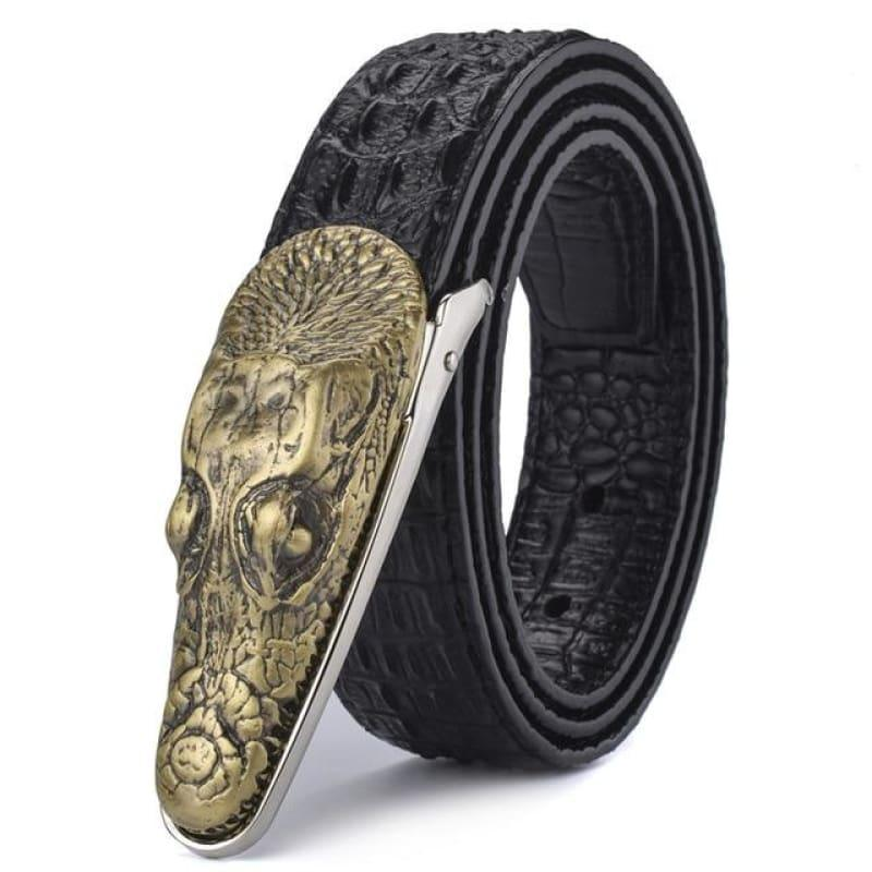 Crocodile Head Gold Silver Bronze Metal Buckle High Quality Belts - Bronze 1 / 105cm - belts