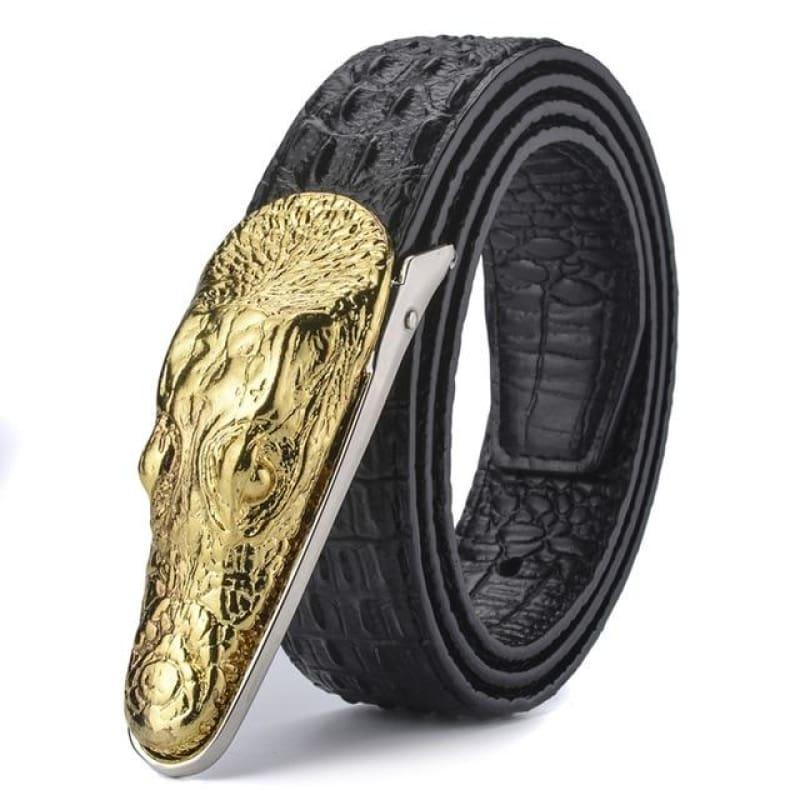 Crocodile Head Gold Silver Bronze Metal Buckle High Quality Belts - Gold / 105cm - belts