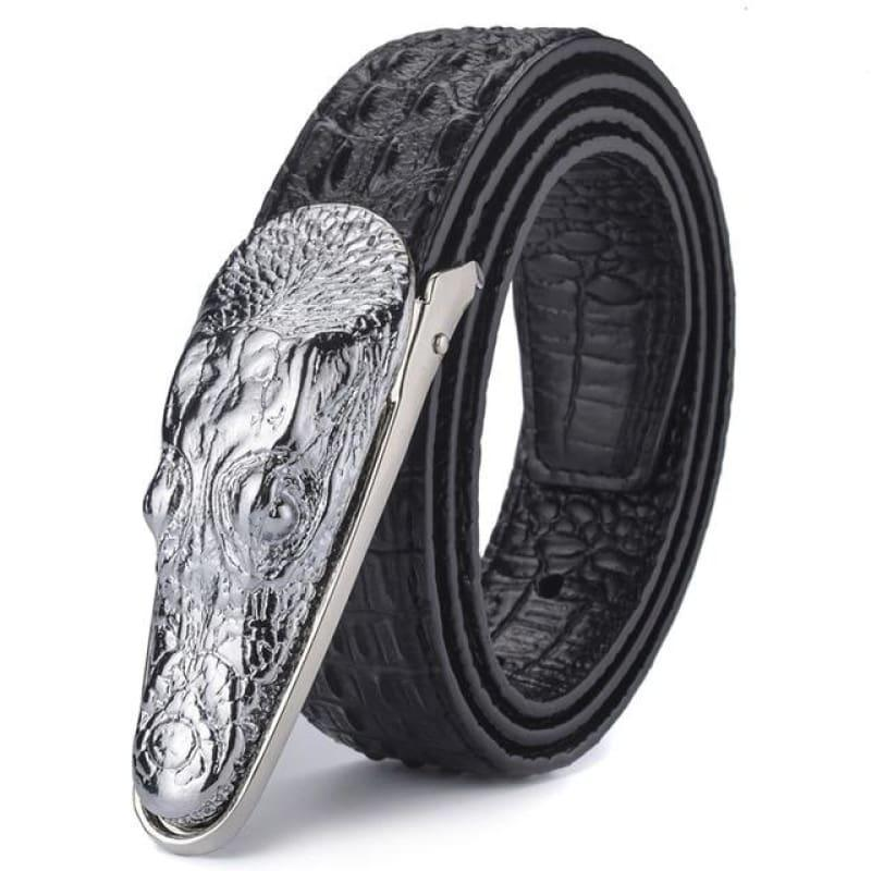 Crocodile Head Gold Silver Bronze Metal Buckle High Quality Belts - Silver / 105cm - belts
