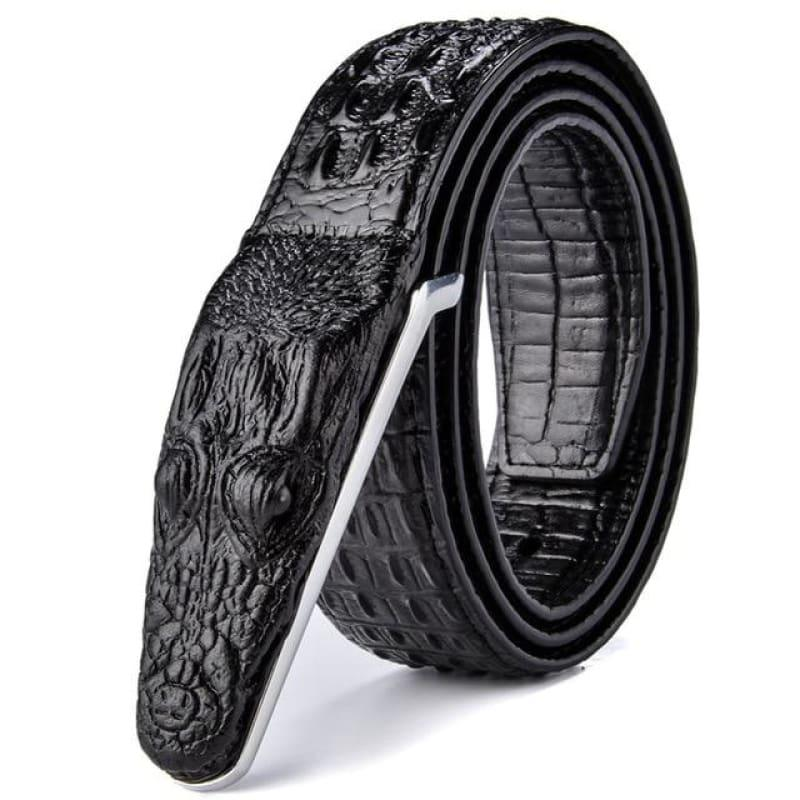 Crocodile Head Gold Silver Bronze Metal Buckle High Quality Belts - Black / 105cm - belts