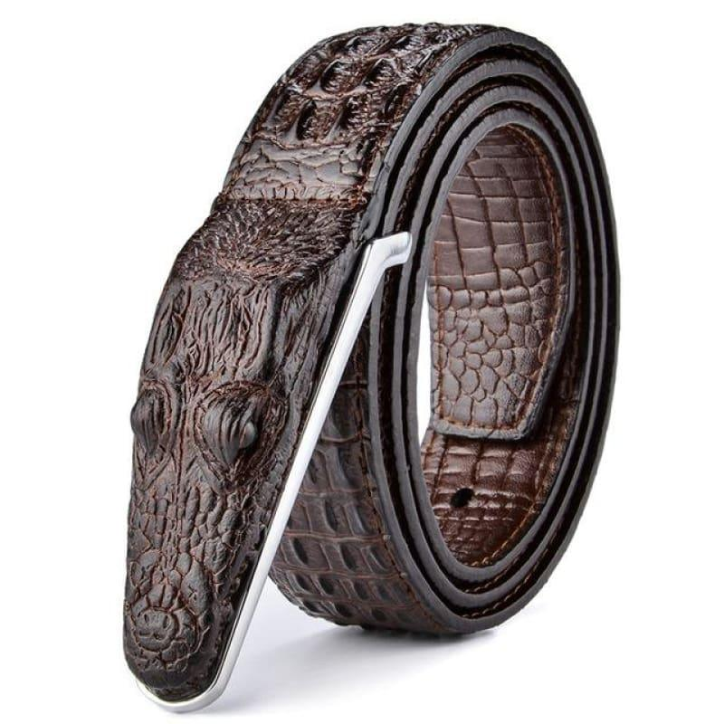Crocodile Head Gold Silver Bronze Metal Buckle High Quality Belts - Coffee / 105cm - belts