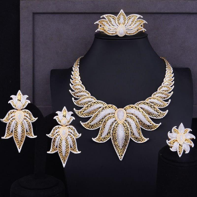Crown Leaf Leaves Wedding Red Cubic Zirconia Statement Necklace Earrings Jewelry Set - Jewelry Set