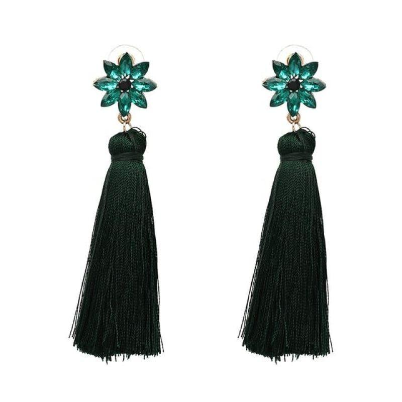 Crystal Flower Red Green Dangle Earrings With Black Purple Tassel Boho Earrings - TeresaCollections