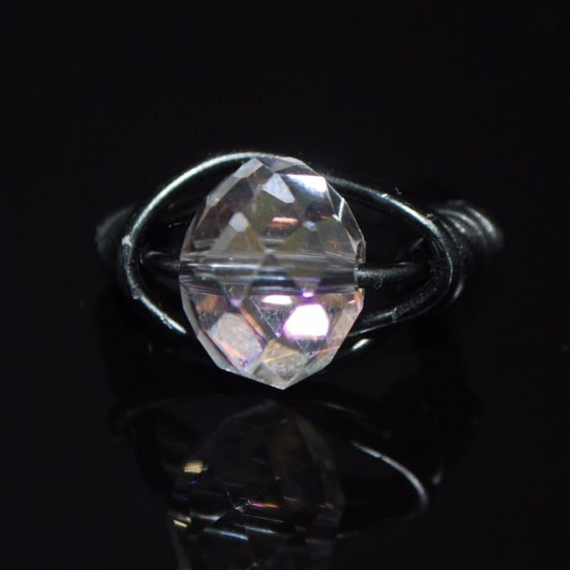 Crystal Handcrafted Womens Ring - 6 / Black - Handmade