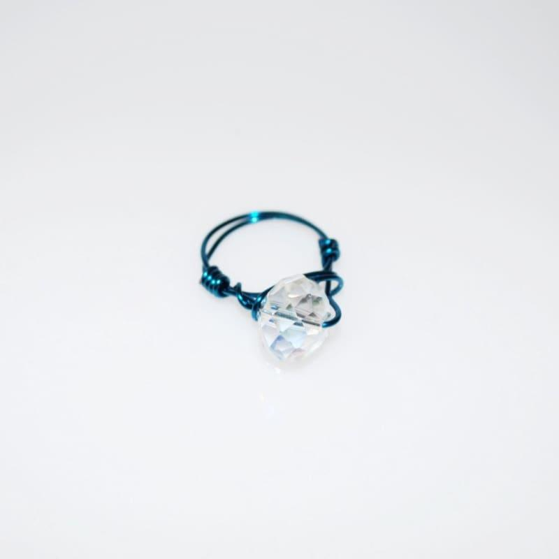 Crystal Handcrafted Womens Ring - 6 / Blue - Handmade