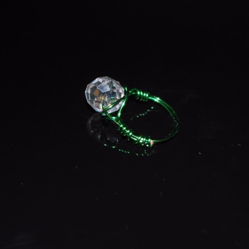 Crystal Handcrafted Womens Ring - 6 / Green - Handmade