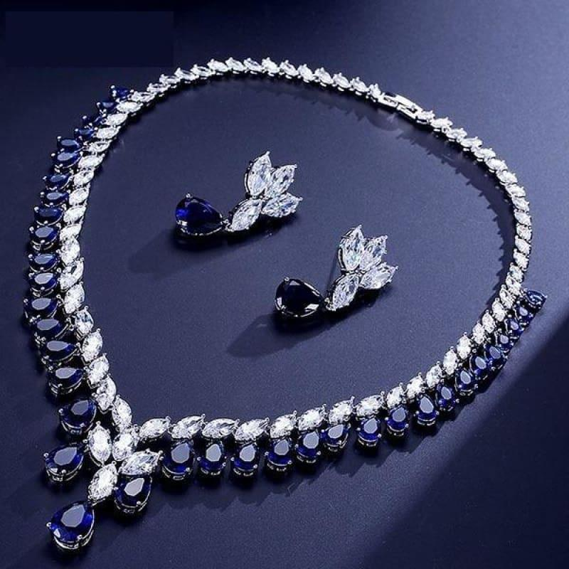 Cubic Zirconia Earrings And Necklace Jewelry Bridal Formal Jewelry Sets - Blue - jewelry set