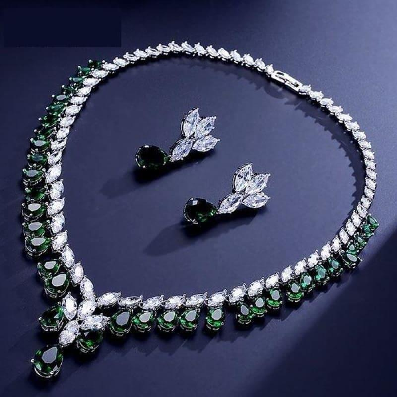 Cubic Zirconia Earrings And Necklace Jewelry Bridal Formal Jewelry Sets - Green - jewelry set