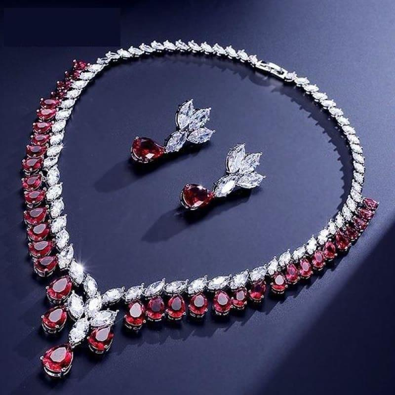 Cubic Zirconia Earrings And Necklace Jewelry Bridal Formal Jewelry Sets - Red - jewelry set